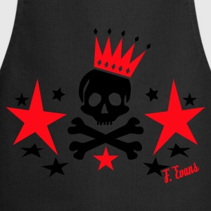 Skull King, King, Queen, Bones, Knochen, Crown, Krone, Sterne, Stars, Geschenke, Rock, Emo, Pop, Disco, Dance, Music - eushirt.com - Tablier de cuisine
