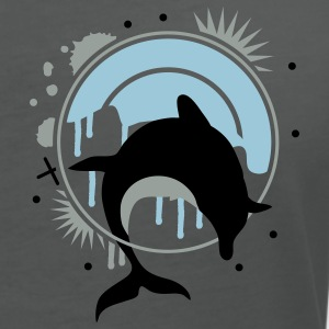 Dolphin jumping through a hoop  Polo Shirts - Women's V-Neck T-Shirt
