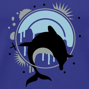 Dolphin jumping through a hoop  Kids' Tops - Men's Premium T-Shirt