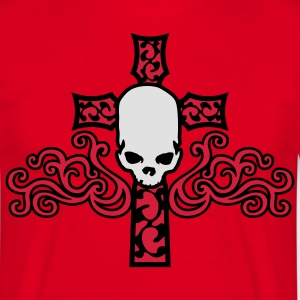 tribal_skull_cross_a_3c Kookschorten - Mannen T-shirt