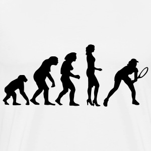 evolution_female_tennis_a_1c Kookschorten - Mannen Premium T-shirt