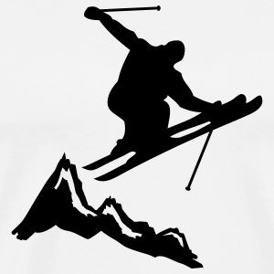 ski jump with mountains Shirts med lange ærmer - Herre premium T-shirt