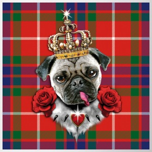 Mops - Pug The King - Krone - rote Rosen  Schottland  Muster Anstecker Button - Tasse
