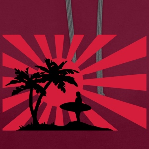 Surfing the setting sun under the palm trees against the sun.  T-Shirts - Contrast Colour Hoodie