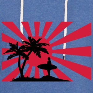 Surfing the setting sun under the palm trees against the sun.  T-Shirts - Light Unisex Sweatshirt Hoodie