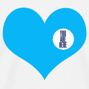you are here - Kjærlighet og Valentinsdag Buttons / merkelapper - Premium T-skjorte for menn