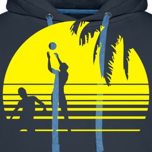 BEACH VOLLEYBALL SUNSET PALME 1C T-shirts - Herre Premium hættetrøje