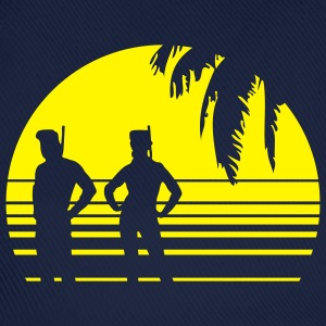 BEACH DIVING SUNSET PALME 1C T-Shirts - Baseballkappe