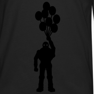 Anti-krig tema, retro robot med ballon ballon science fiction-motiv stencil T-shirts - Herre premium T-shirt med lange ærmer