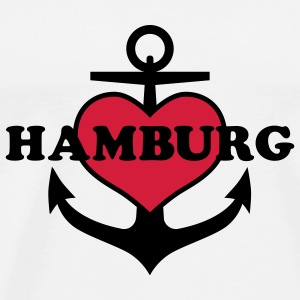 Herz auf Anker in HANSESTADT HAMBURG Anchor 2c Button Anstecker - Männer Premium T-Shirt