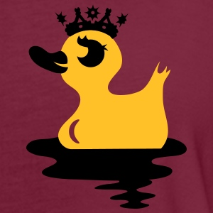 a small duck in the water with a crown on his head  Polo Shirts - Women's Oversize T-Shirt