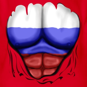 Russia Flag Ripped Muscles, six pack, chest t-shir - Organic Short-sleeved Baby Bodysuit