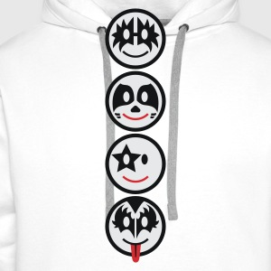 Smiley Kiss Icons (vertical) 3c  - Men's Premium Hoodie