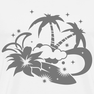Surfboard with palm trees and amaryllis flower on the beach Long sleeve shirts - Men's Premium T-Shirt