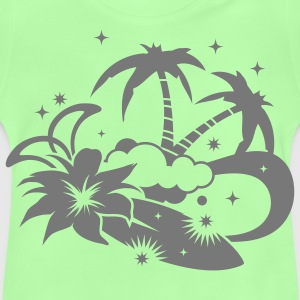 Surfboard with palm trees and amaryllis flower on the beach Kids' Tops - Baby T-Shirt