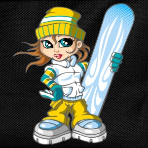 Snowboarding girl and snowboard - Kinder Rucksack