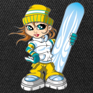 Snowboarding girl and snowboard - Snapback Cap