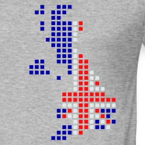 Gris chiné UK - Great Britain flag pixel map Sweatshirts - Tee shirt près du corps Homme