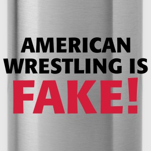 Zwart/wit American Wrestling is fake ! Tassen - Drinkfles
