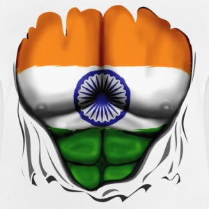India Flag Ripped Muscles, six pack, chest t-shirt - Baby T-Shirt