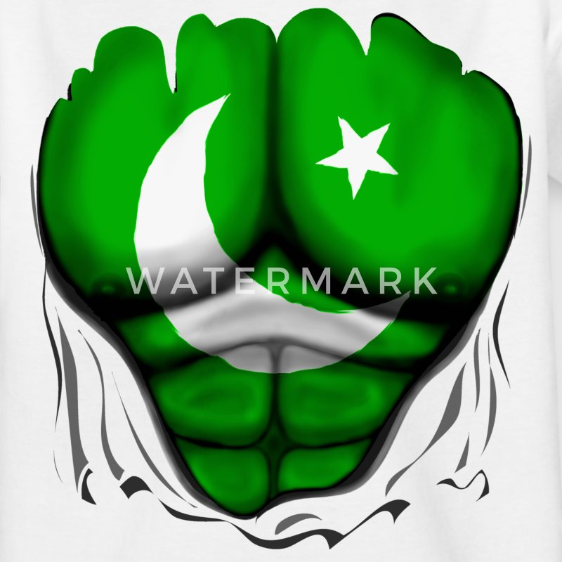 Pakistan Flag Ripped Muscles, six pack, chest t-sh - Teenage T-shirt