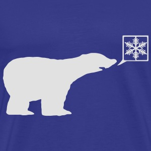 Polar Bear, calls for ice, snow flake global warming. Kids' Tops - Men's Premium T-Shirt