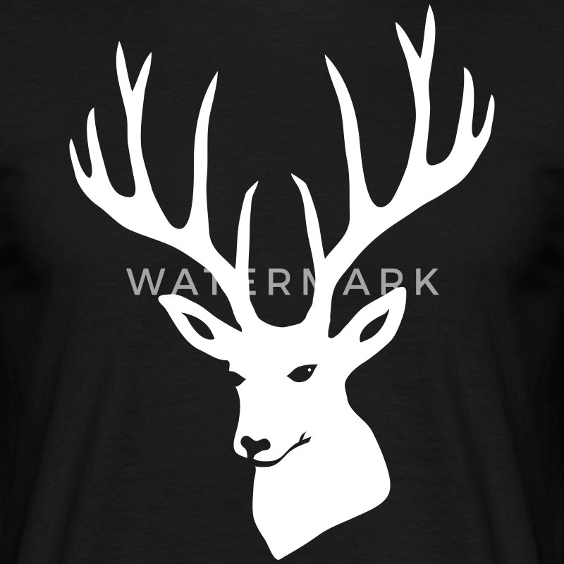 shirt stag deer moose elk antler antlers horn horns cervine hart - Men's T-Shirt