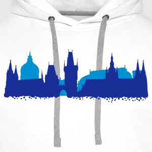 Blanc Prague Skyline T-shirts - Sweat-shirt à capuche Premium pour hommes