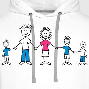 doodle_family_with_3_boys_3c T-Shirts - Männer Premium Hoodie