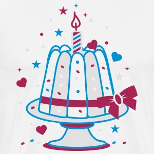 A small birthday cake with a candle  Aprons - Men's Premium T-Shirt