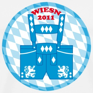 Lederhose Wiesn 2011 Button Anstecker - Männer Premium T-Shirt