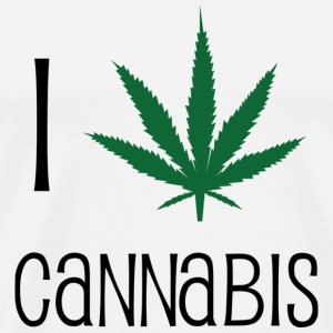 I Love Cannabis - Marijuana - Humor - Drug Buttons - Men's Premium T-Shirt