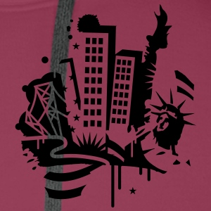 A New-York City Design   dans le style de graffiti  Polos - Sweat-shirt à capuche Premium pour hommes
