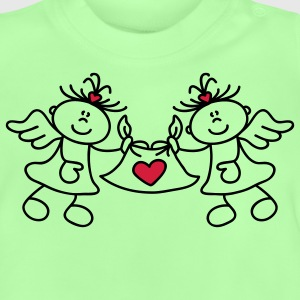 Two little angels and a heart Børne sweatshirts - Baby T-shirt
