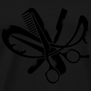 A hairdresser logo with comb, scissors and a razor Umbrellas - Men's Premium T-Shirt
