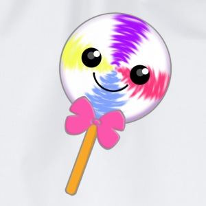 Cute Little Kawaii Lollipop with Pink Bow Tie - Drawstring Bag