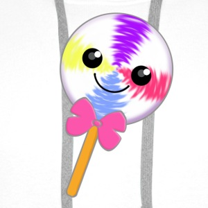 Cute Little Kawaii Lollipop with Pink Bow Tie - Men's Premium Hoodie
