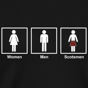 Women Men Scotsmen Funny Cartoon in White - Men's Premium T-Shirt