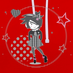 A girl with striped stockings T-Shirts - Contrast Colour Hoodie