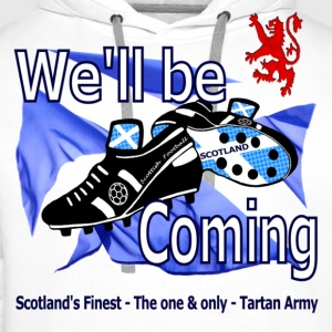 Tartan Army We'll be Coming Scotland long sleeve baseball shirt - Men's Premium Hoodie