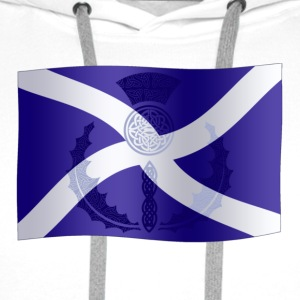 Scottish Saltire Flag with Celtic Thistle - Men's Premium Hoodie