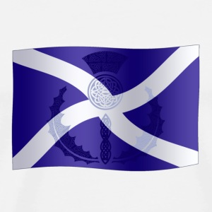 Scottish Saltire Flag with Celtic Thistle - Men's Premium T-Shirt