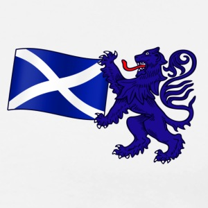 Scottish Lion Rampant Holding the Saltire Flag - Men's Premium T-Shirt