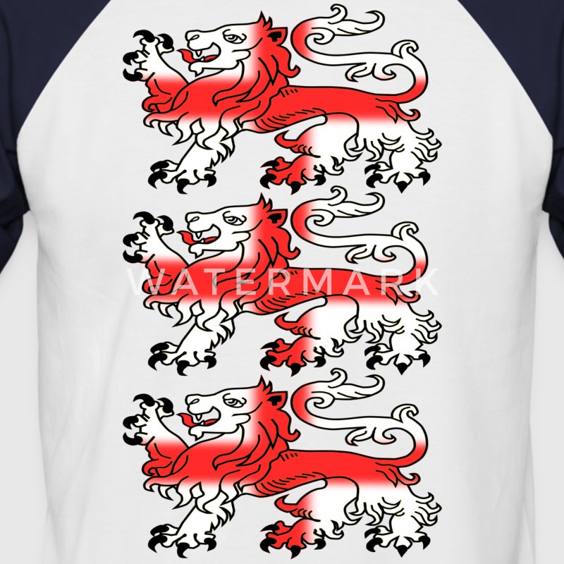Three English Lion Passants with St George's Cross - Men's Baseball T-Shirt