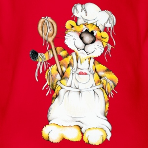 The tiger is cooking spaghetti Kids' Shirts - Organic Short-sleeved Baby Bodysuit