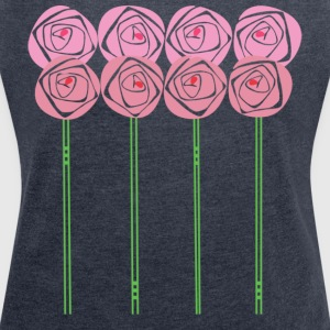 Art Nouveau Roses in the Mackintosh Style - Women's T-shirt with rolled up sleeves
