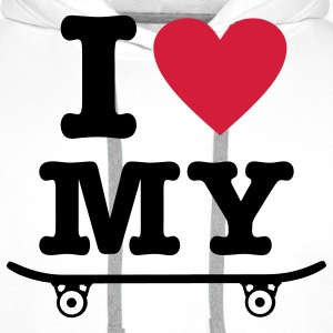 White Skateboard - I love my skateboard - I heart my skateboard Kids' Shirts - Men's Premium Hoodie