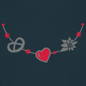 Dirndl jewelry with pretzel, gingerbread heart and Edelweiss  Aprons - Men's T-Shirt