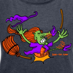 Witch Crashing And Breaking Her Broom Hoodies & Sweatshirts - Women's T-shirt with rolled up sleeves
