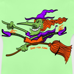 Crazy Witch Riding her Broomstick Kids' Tops - Baby T-Shirt